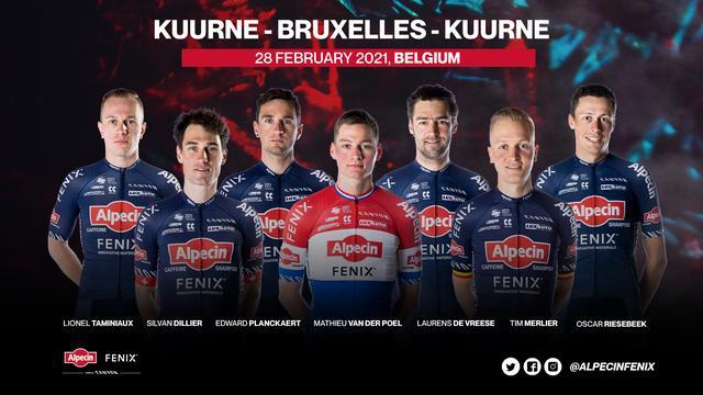De opstelling van Alpecin-Fenix voor Kuurne-Brussel-Kuurne.