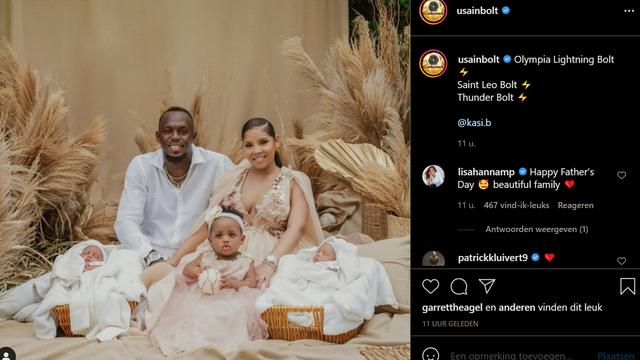 Usain Bolt en zijn gezin.