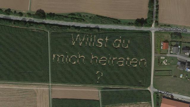 Grappige Google Maps: huwelijksaanzoek in maïsveld