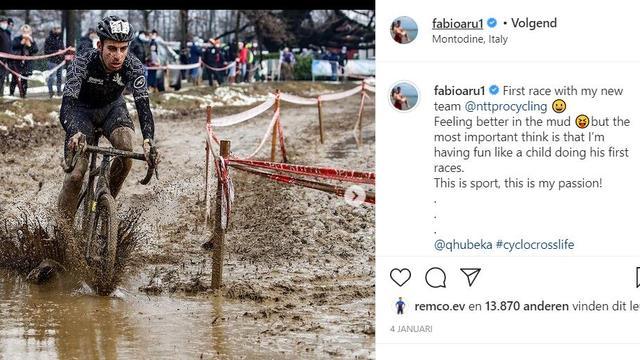 Fabio Aru liet deze maand op Instagram al weten te genieten van het veldrijden.