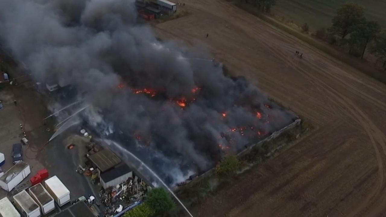 Luchtbeelden tonen schade grote brand Someren-Heide