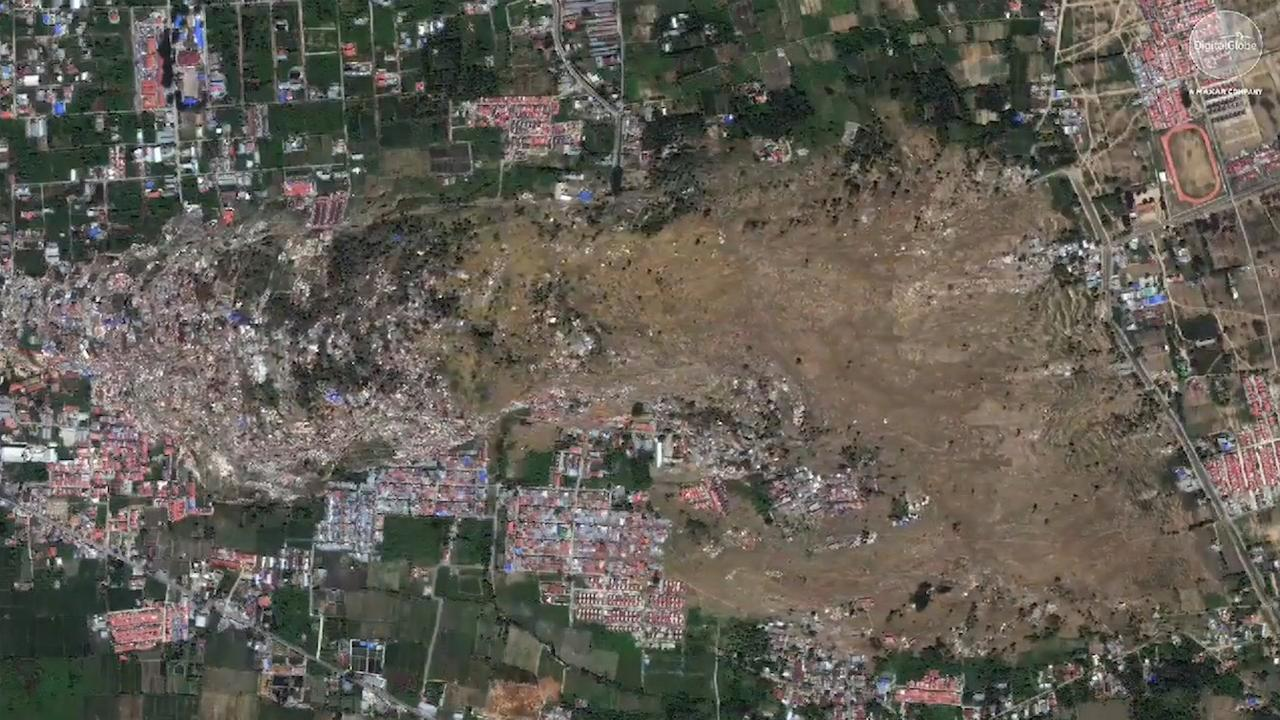 Satellietbeeld toont aardverschuiving na aardbeving Sulawesi