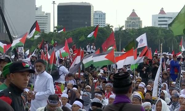 Massale demonstratie Jakarta om Jeruzalem-besluit Trump
