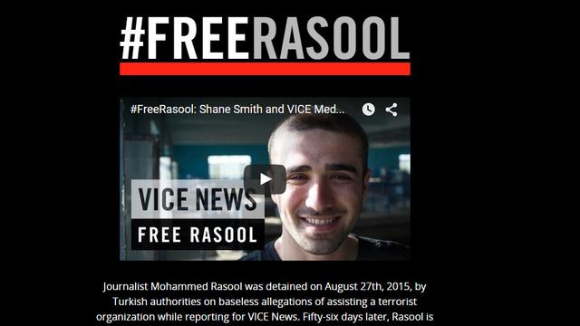Websites Vice wereldwijd op zwart om vrijlating journalist