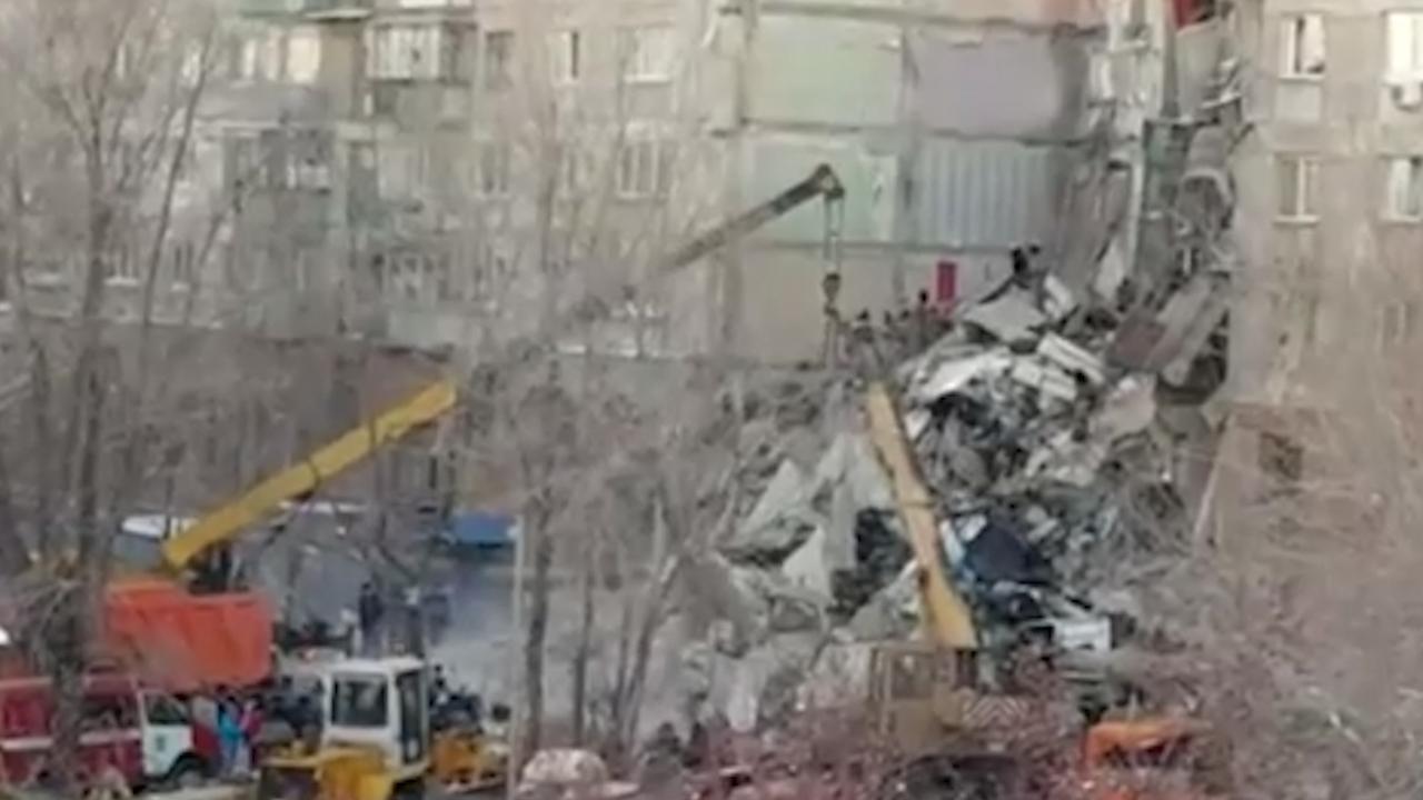 Flatgebouw in Rusland stort in na gasexplosie