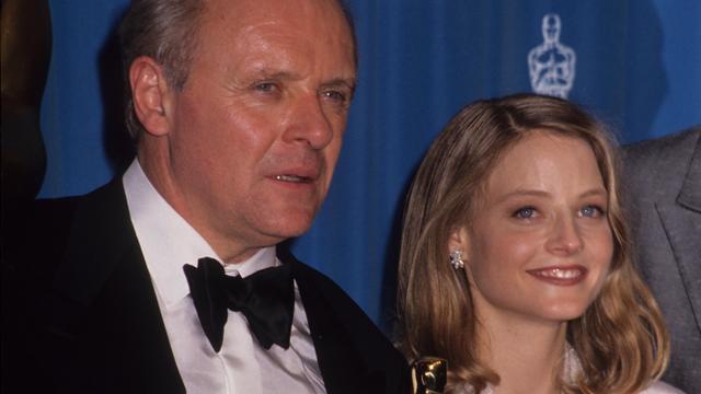 Hopkins en Foster tijdens de uitreiking van de Oscars in 1992.