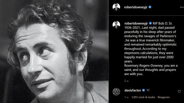 Het eerbetoon van Robert Downey Jr. aan zijn vader, dat hij woensdag deelde op Instagram.