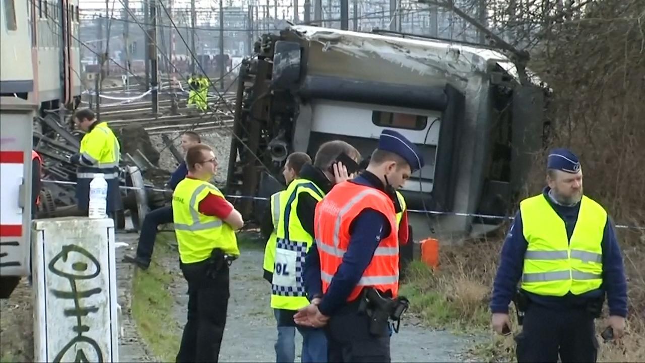 Eerste beelden ontspoorde trein Leuven