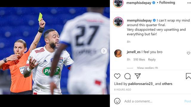 Het Instagram-bericht van Memphis Depay.