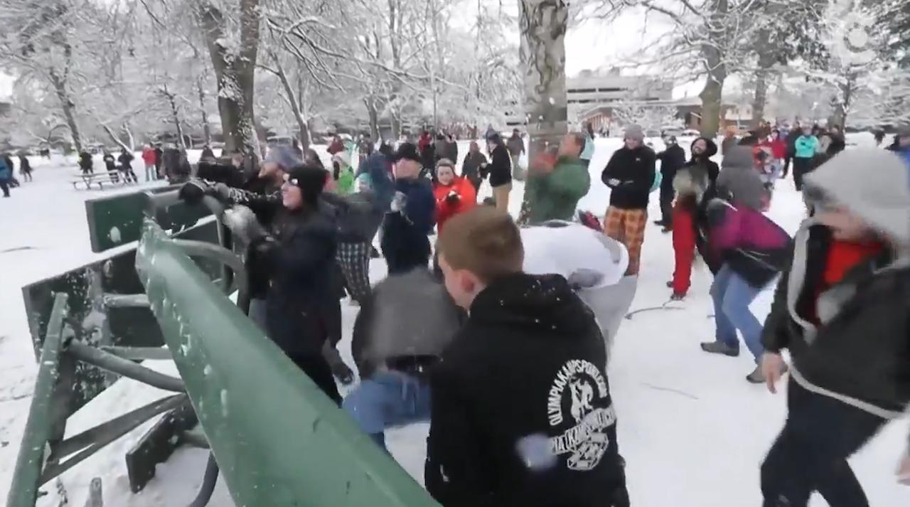 Honderden Amerikanen houden sneeuwballengevecht in park
