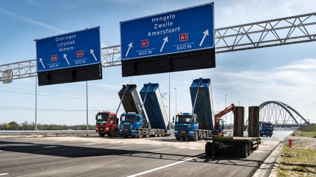 Opnieuw uur langer onderweg door werkzaamheden A1 en A6