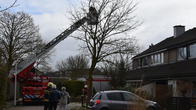 Brandweer haalt losse delen schoorsteen van dak