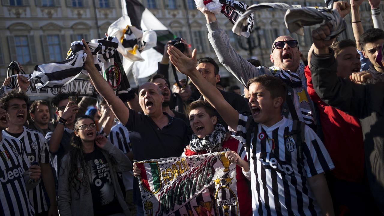 Spelers Juventus vieren kampioenschap
