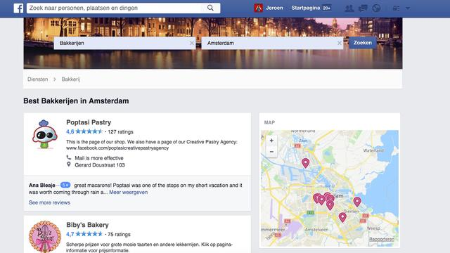 Facebook maakt bedrijven zoeken mogelijk op nieuwe pagina