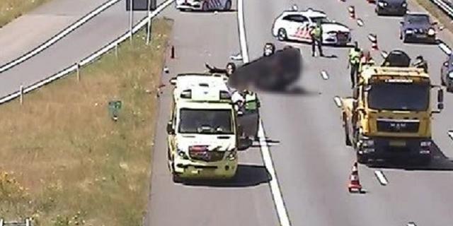 File op A12 richting Arnhem door auto ondersteboven op rijbaan