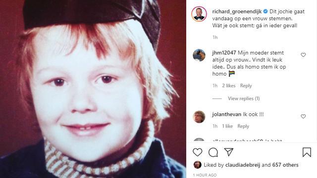 Geen 'stemfie' voor Richard Groenendijk: hij deelt een oude foto van zichzelf en schrijft daarbij dat hij op een vrouw gaat stemmen. Foto: Instagram/Richard Groenendijk