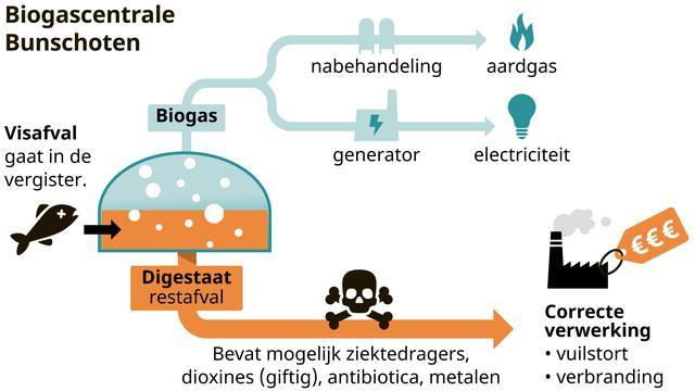 De route van visafval tot energie en vuilstort/verbranding.