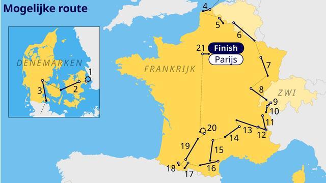 Overzicht van het vermoedelijke parcours van de Tour de France in 2022.