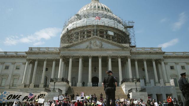 Ruim vierhonderd betogers opgepakt bij protest in Washington