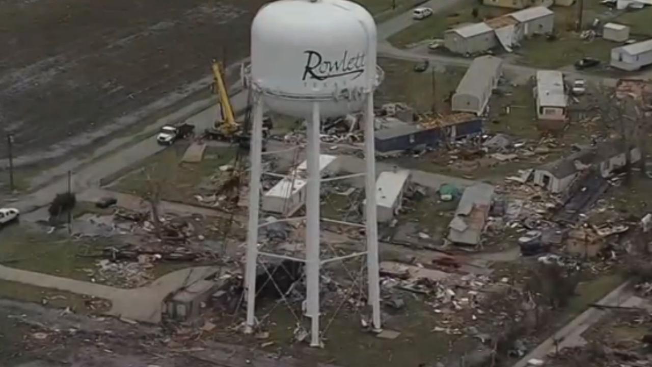 Dronebeelden van ravage na tornado in Texas