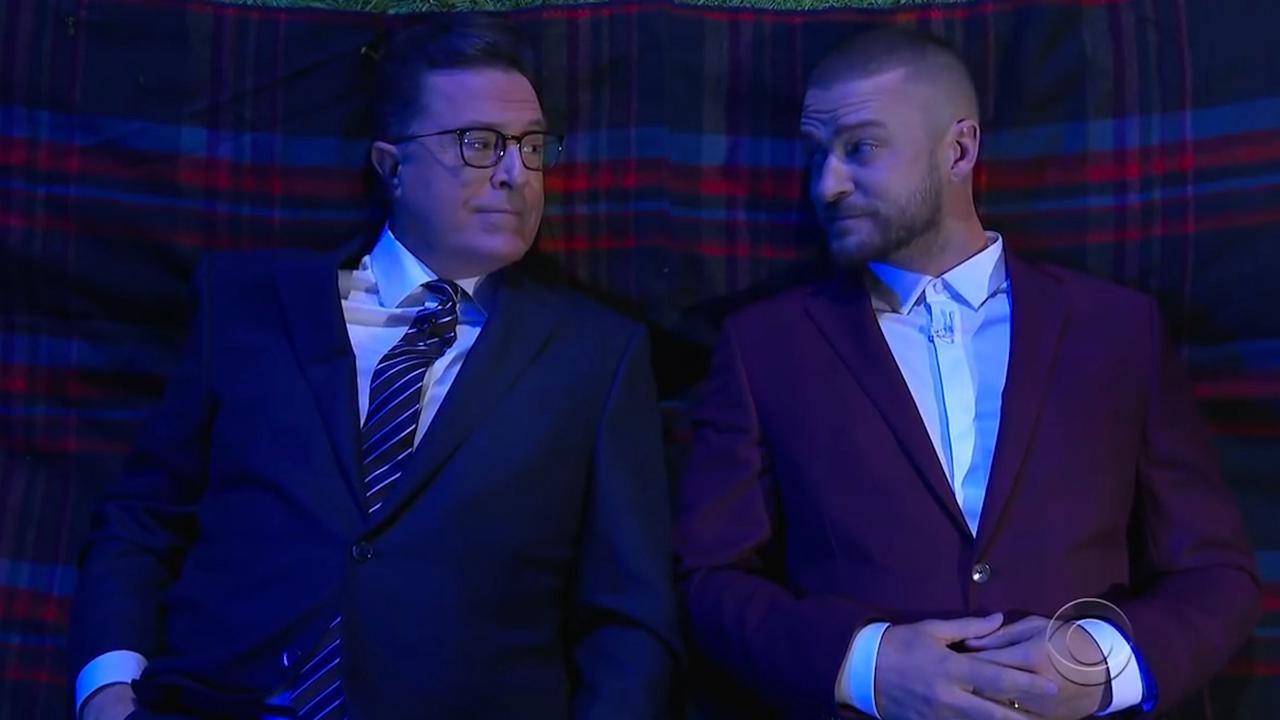 Stephen Colbert heeft diepe gesprekken met Justin Timberlake