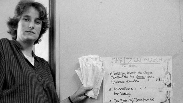 Aki Herlyn in 1986. 'Wij ruilden oude spuiten voor nieuwe en gaven meteen voorlichting.'