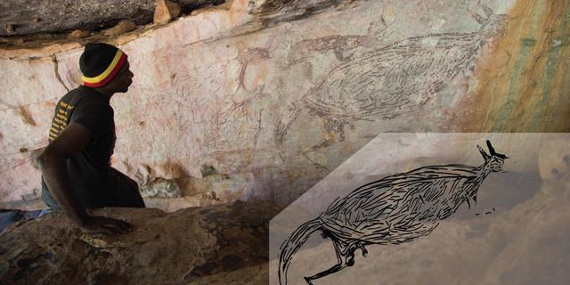 Afbeelding van kangoeroe is de oudste ontdekte rotstekening van Australië