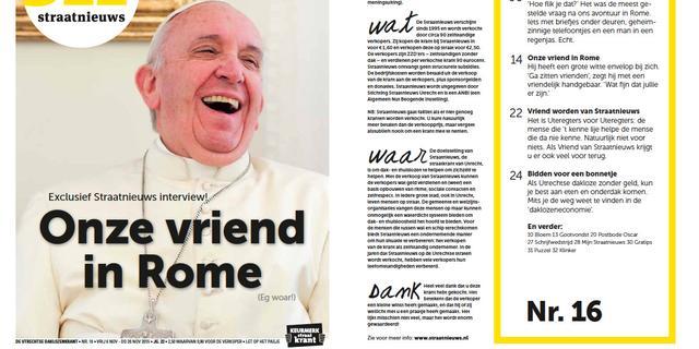 Interview met paus geeft Straatnieuws Utrecht 'enorme boost'