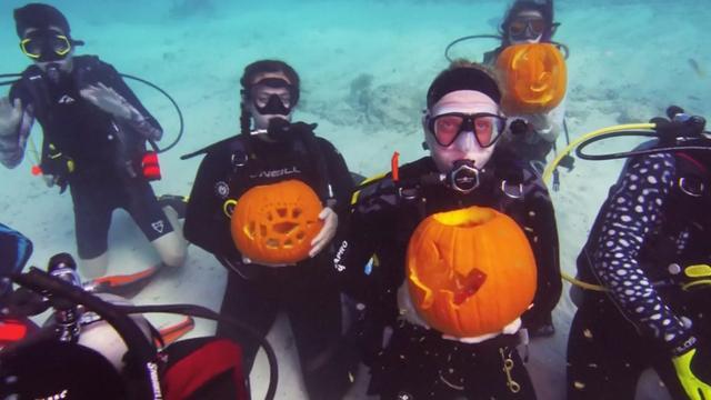 Duikers snijden onder water pompoenen voor Halloween-wedstrijd