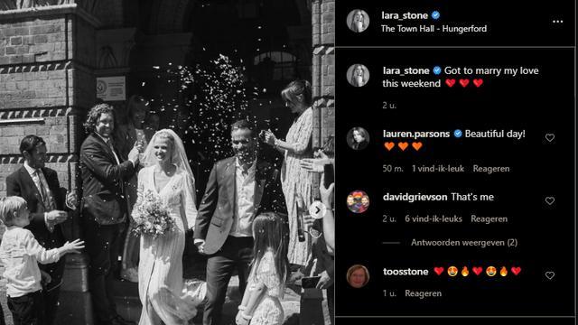 Het stel deelt op Instagram een aantal foto's van hun bruiloft.