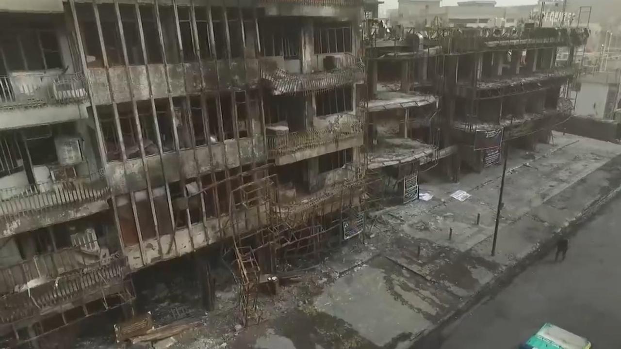 Drone filmt verwoesting na aanslag Bagdad
