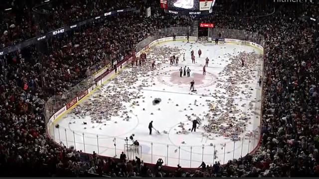 IJshockeyfans gooien ruim 24.000 knuffels op ijs tijdens wedstrijd in Calgary