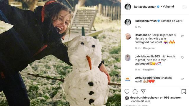 Katja Schuurman is trots op de sneeuwpop die haar dochter heeft gemaakt.