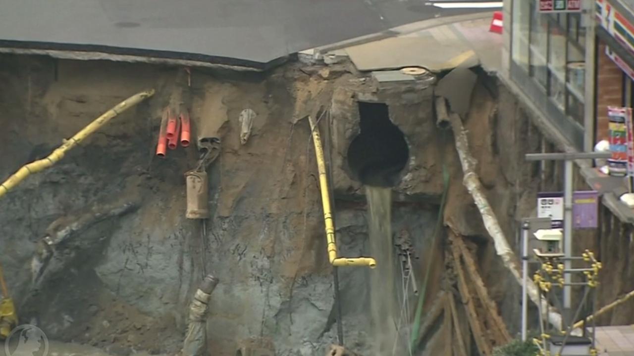 Grote sinkhole ontstaat uit het niets in Tokio
