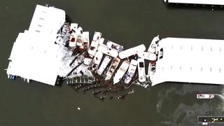 Drone filmt door storm verwoeste haven in Kentucky