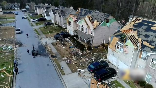 Dronebeelden tonen verwoeste woonwijk Georgia na drie tornado's
