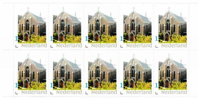 Rijksmonument Sint Catharinakapel uit Bergen op Zoom op postzegel