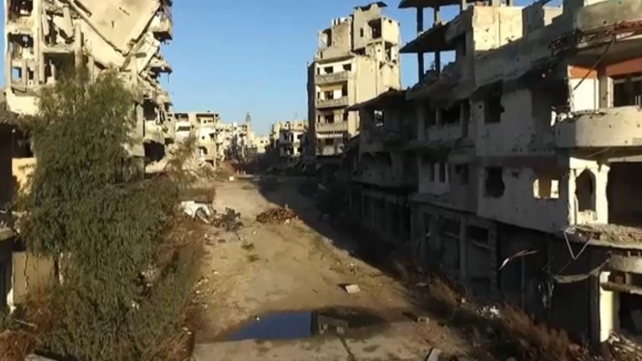 Drone toont verwoeste Syrische stad Homs