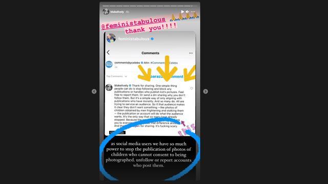 In haar Stories deelt Lively steunbetuigingen. Foto: Instagram/Blake Lively
