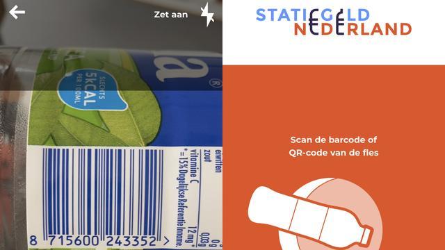 Met de Statiegeld-app van Statiegeld Nederland scan je de barcode van je lege fles.