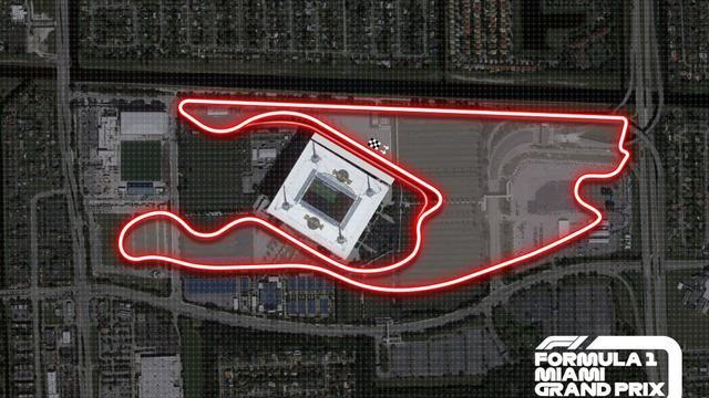 Het circuit op de parkeerplaats van het Hard Rock Stadium.