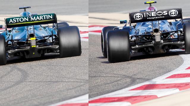 Aan de achterzijde is de wielophanging hetzelfde. Dat is logisch, want die koopt Aston Martin van Mercedes. Dat geldt niet voor de diffuser, die duidelijk een eigen ontwerp van Aston Martin is. Ook van achter gezien zijn de verschillen in het bodywork rond de motor goed zichtbaar. De achtervleugel lijkt dan weer een regelrechte kopie van de Mercedes.