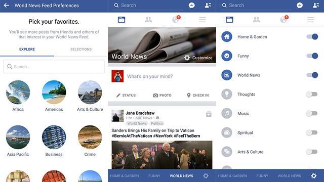 Facebook test aanpasbare Nieuwsfeed