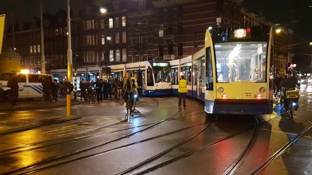 Botsing tussen twee trams op de Marnixstraat