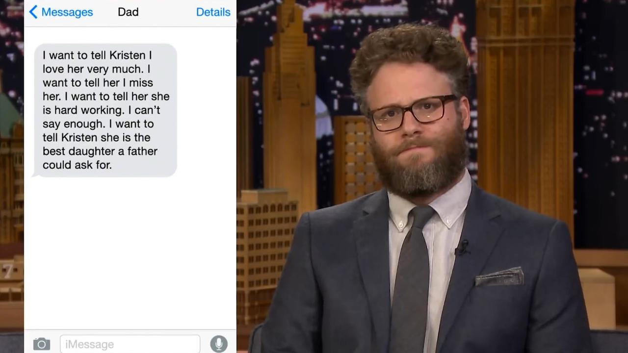 Seth Rogen leest bijzondere sms'jes tussen vaders en kinderen voor