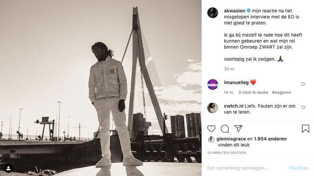 """Akwasi reageert erop, zei hij """"mevrouw"""" Interview met het Ethics Office.  (Foto: Instagram / Akuasi)"""