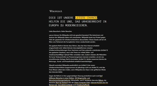 Wikipedia in aantal EU-landen op zwart in protest tegen copyrightwet