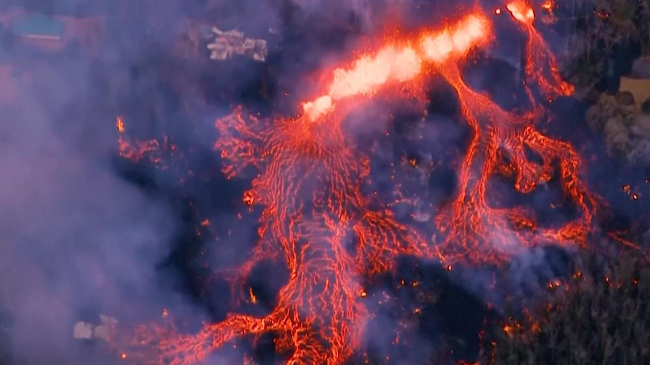 Helikopterbeeld toont situatie na vulkaanuitbarsting Hawaï