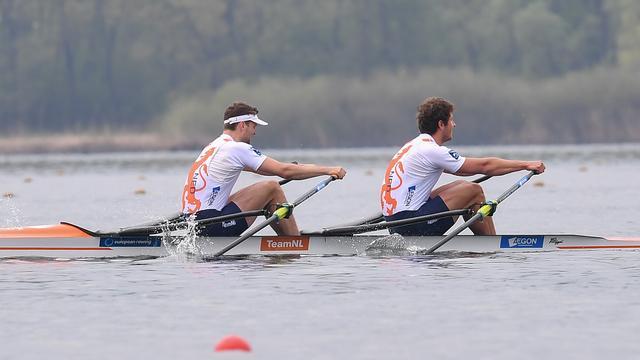 Stef Broenink en Melvin Twellaar eindigden als tweede in de dubbeltwee.
