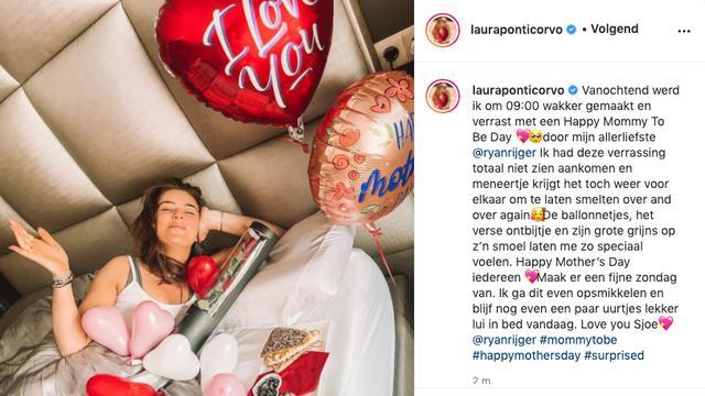Aanstaande moeder Laura Ponticorvo werd verrast door haar man. (Foto: Instagram/Laura Ponticorvo)